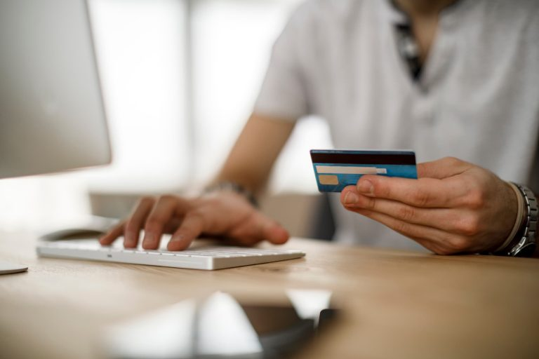 Person making an online purchase