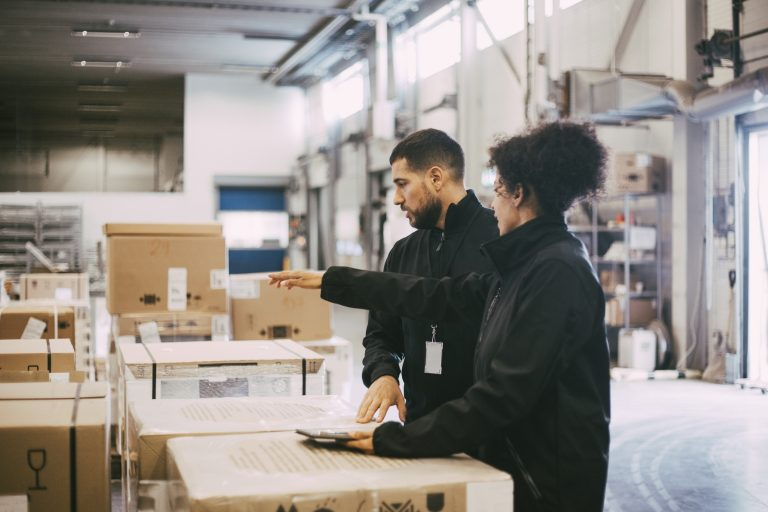 Businesswoman pointing while discussing with male colleague at warehouse