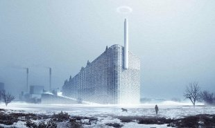 Waste-to-energy power station has a public ski slope and art installation