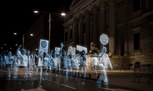 In Madrid, thousands of holograms protest against 'gag' laws