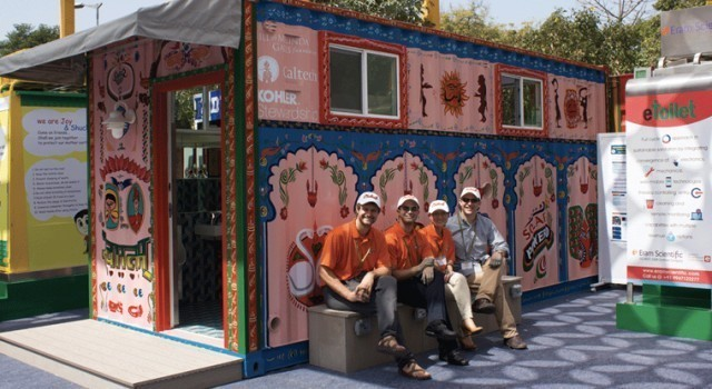 Solar powered toilet sends self-diagnosis through mobile app