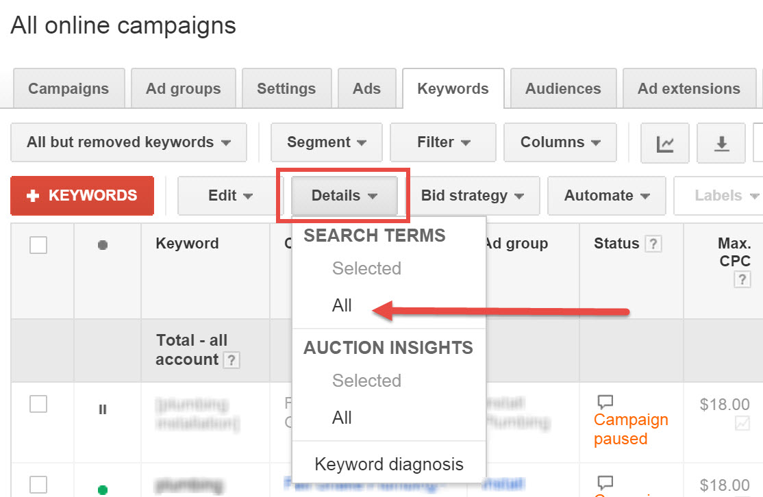 AdWords Testing New Search Query Report Layout