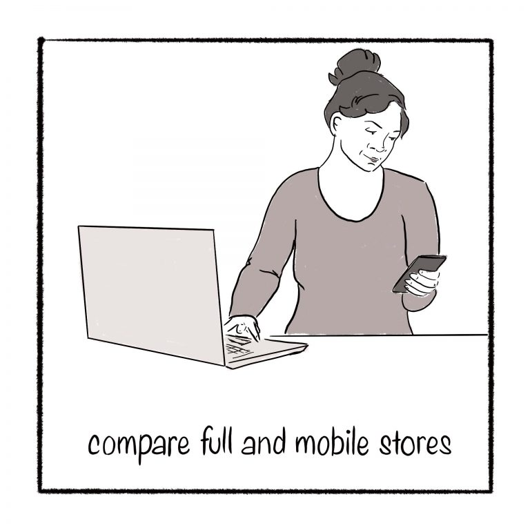 Compare desktop and mobile stores