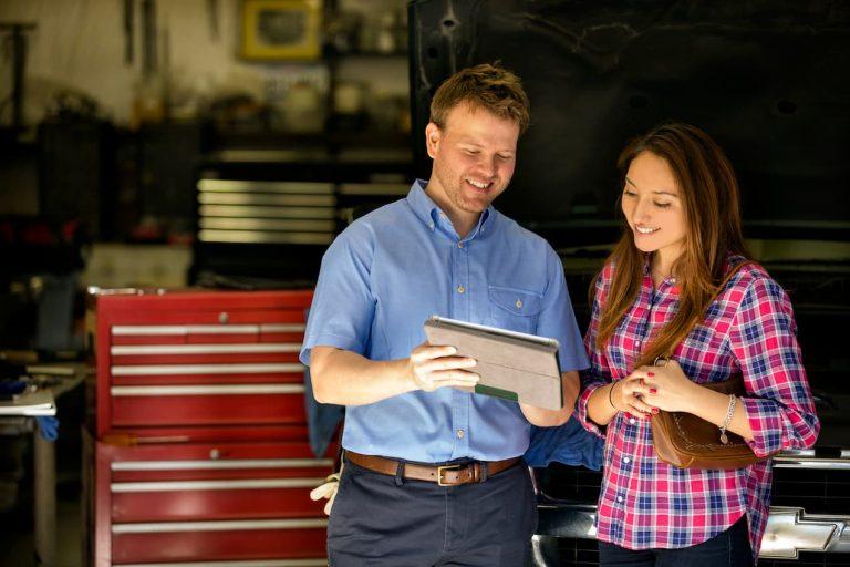 Mechanic helping a customer