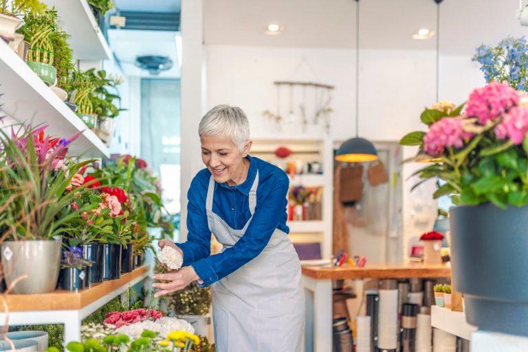 Woman in a flower shop