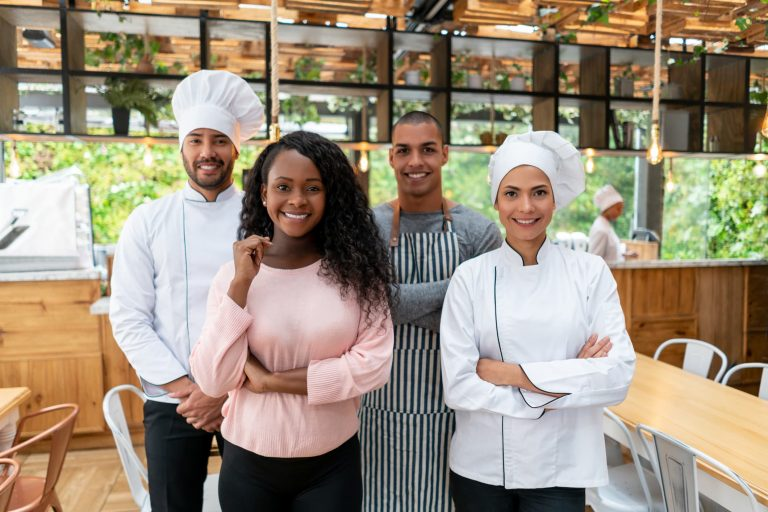 A group of diverse workers in a resturant
