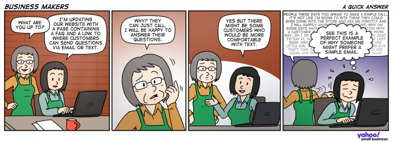Comic strip about a mother and daughter team discussing technology