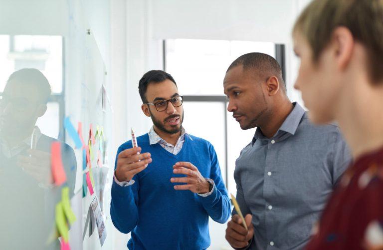 Team discussing website metrics