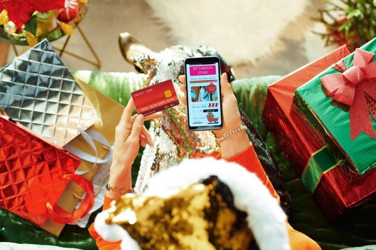Woman doing her holiday shopping online