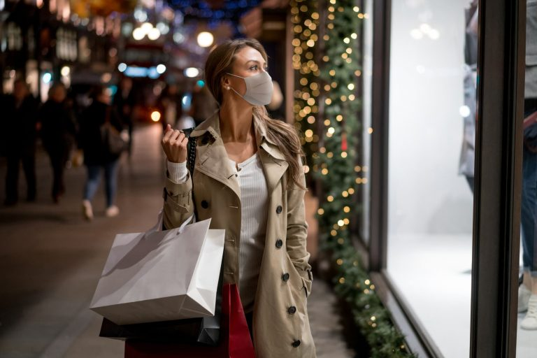 Woman doing her holiday shopping downtown