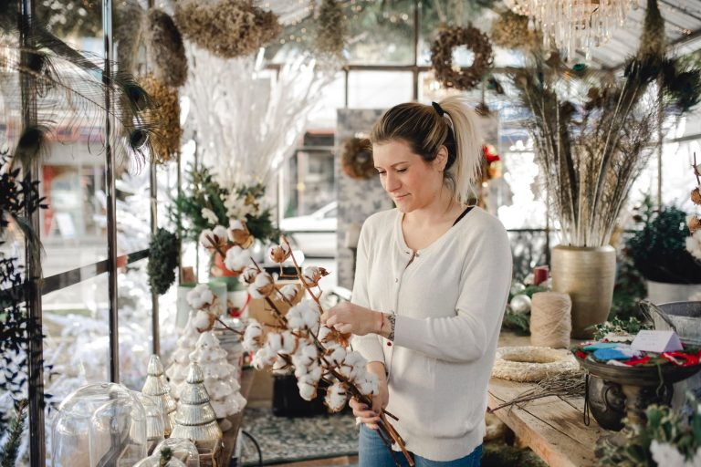 Florist taking stock of winter inventory