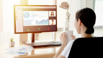 Business owner in a virtual meeting