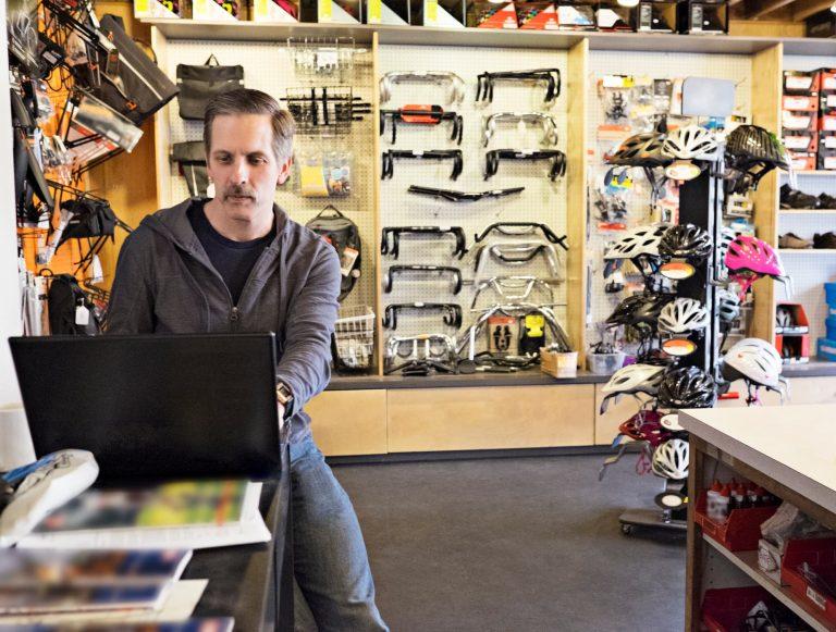 Bike shop owner updating their website